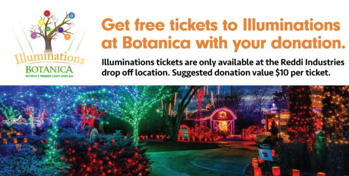 Get free tickets to Illuminations with donation. Tickets only available at Reddi Industries drop off location. Suggested donation $10 per ticket.